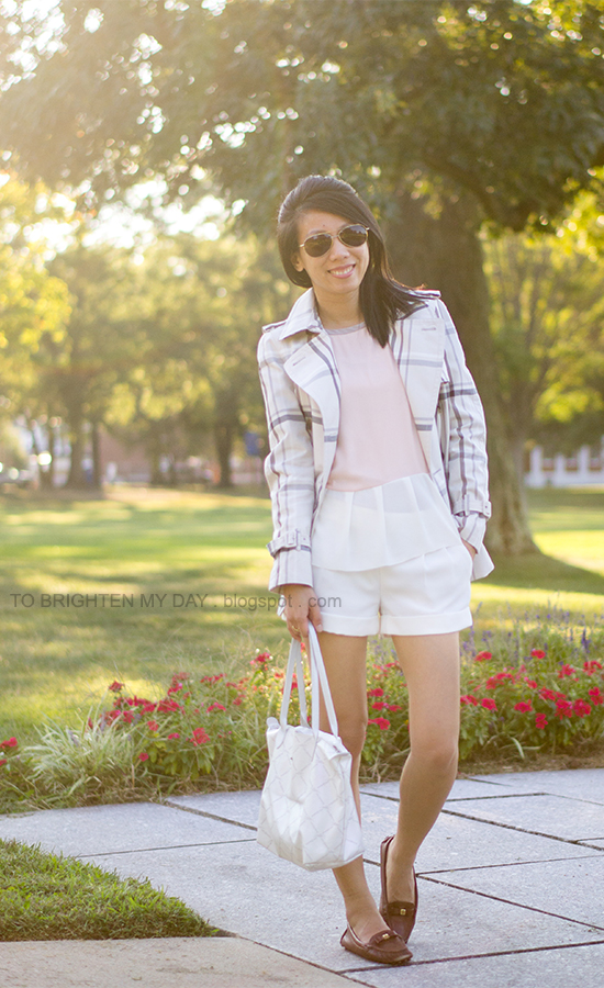 plaid patterned short trench jacket, colorblock peplum tee, white shorts, brown loafers