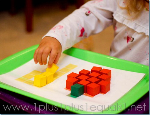 P is for Pumpkin Color Cubes Activity (Photo from 1+1+1=1)