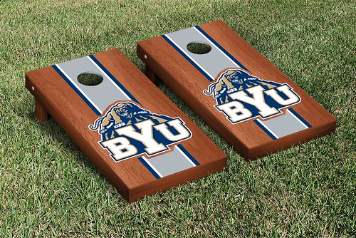 Brigham Young University BYU Cougars Cornhole Game Set Rosewood Stained
