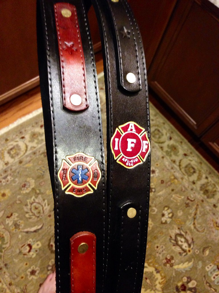 Maltese cross and IAFF maltese on custom radio straps