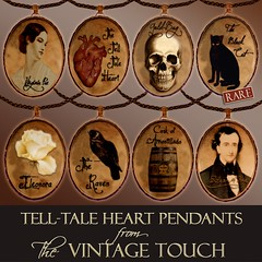 Vintage Touch - Poe Tell-Tale Heart Pendants