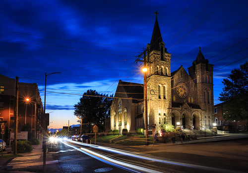 """Sacred Heart Church"" church Missouri Columbia ""Columbia Missouri"" Notley ""Notley Hawkins"" 10thavenue http://www.notleyhawkins.com/ ""Missouri Photography"" ""Notley Hawkins Photography"" ""Boone Bounty"" BoCoMo ""Boone County Missouri"" summer 2014 August ""blue hour"" ""The Blue Hour"" architecture ""Long Exposure"" ""light trails"" night nocturne"