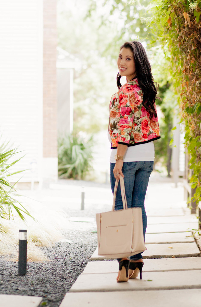 cute & little blog   petite fashion   oasap floral cropped jacket, ag maternity distressed jeans, shoemint gold black sandals   maternity bump pregnant style   21 weeks