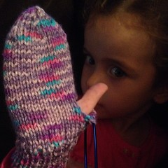 Someone wants a #thumb on her #mitten!  #knit