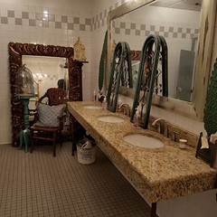 This was the bathroom.  Really?? #homedecor #art #antiques