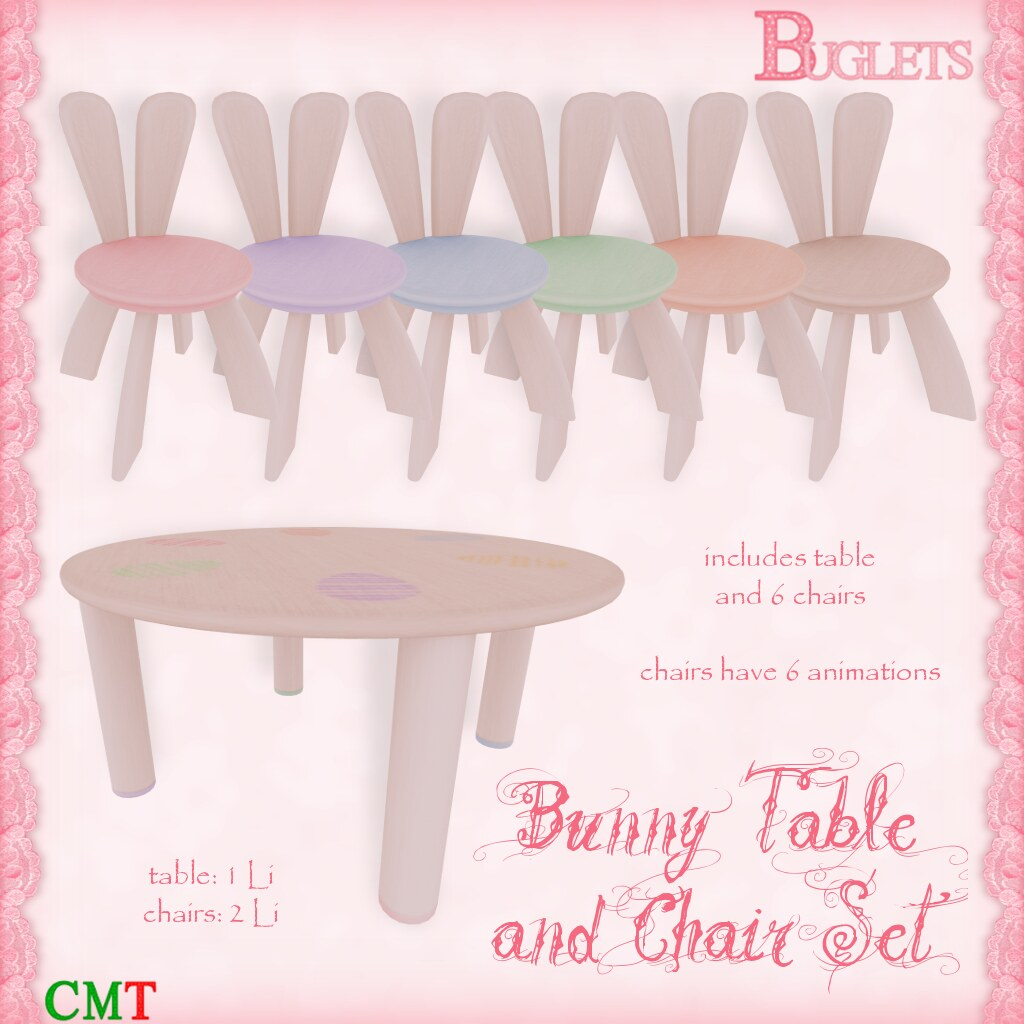 Bunny Table & Chairs AD - SecondLifeHub.com