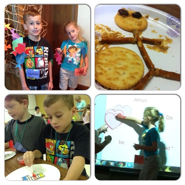 Day 4 of VBS: Nat and Aut standing with all of the fish they've caught, each fish is $10 that has been given. Snack was PB, crackers, raisins and pretzels. Nathan working on a sun catcher and Autumn working on uncovering their bible verse on the smart boa