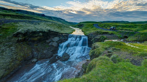 travel sunset canon waterfall iceland jeep south hdr