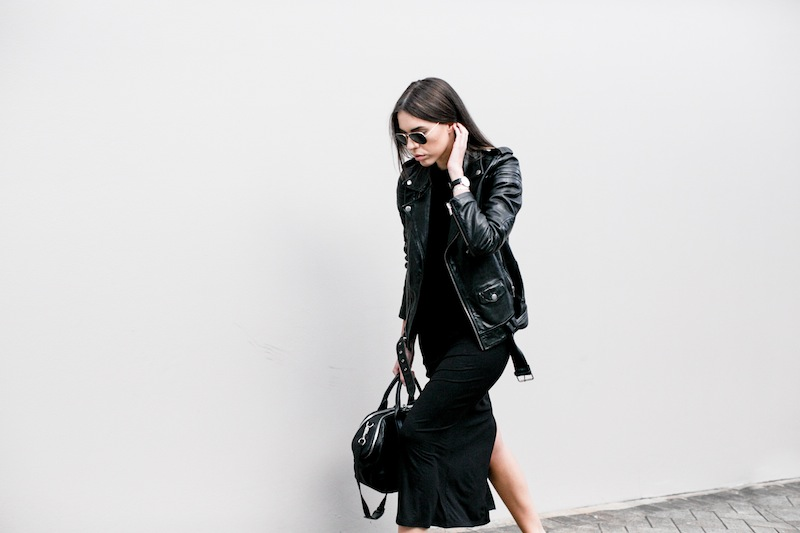 modern legacy fashion blog street style ASOS sale Just Female jersey maxi dress BLK DNM leather moto biker Jacket 8 Common Projects slide sandals Alexander Wang chain tote bag all black (1 of 5)