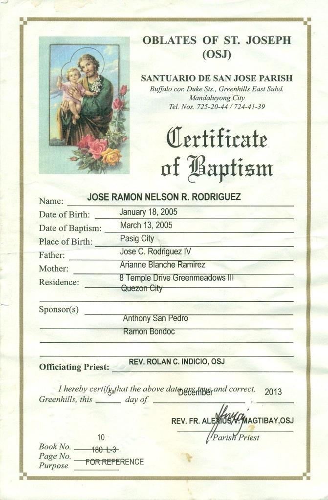 Jarjar Baptismal Certificate Jarjar Baptismal Certific Flickr