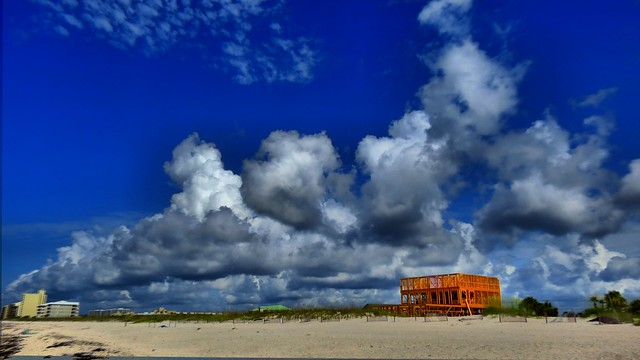 Beach House HDR with Clouds
