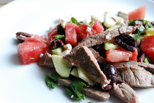 Steak and Watermelon Salad with Feta and Kalamata Olives-002