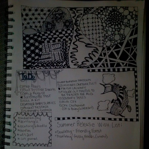 Final art journal page.  A little bit of everything from to do lists to doodles.  #artjournal #wfs2014 #doodles #zentangle