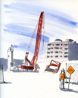 8-6-14 Sound Transit Light Rail Roosevelt Station construction site, Seattle