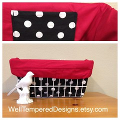 New red and polka dot bicycle basket liner from Well Tempered Designs