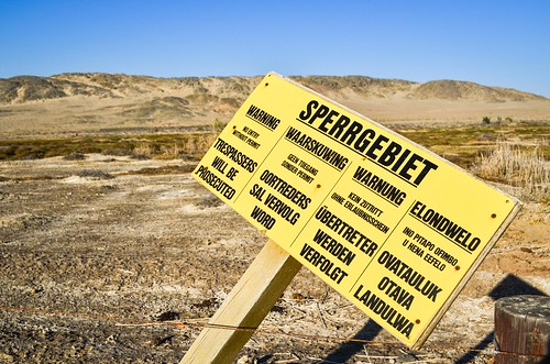 Sperrgebiet warning sign, forbidden diamond area. Trespassers will be prosecuted
