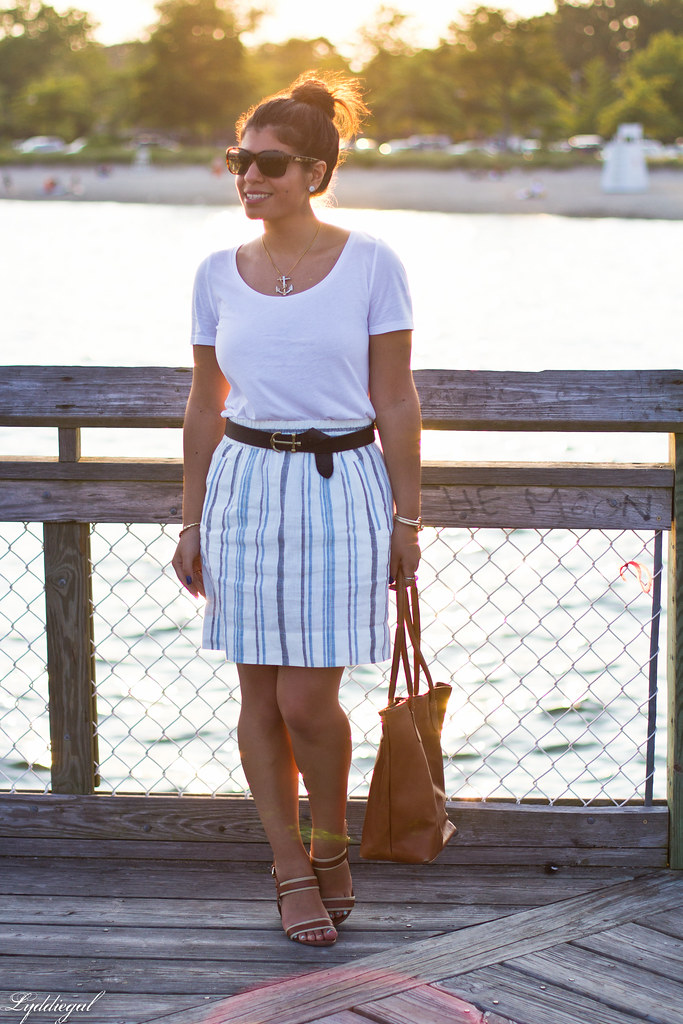 striped linen skirt, white tee, anchor belt-5.jpg