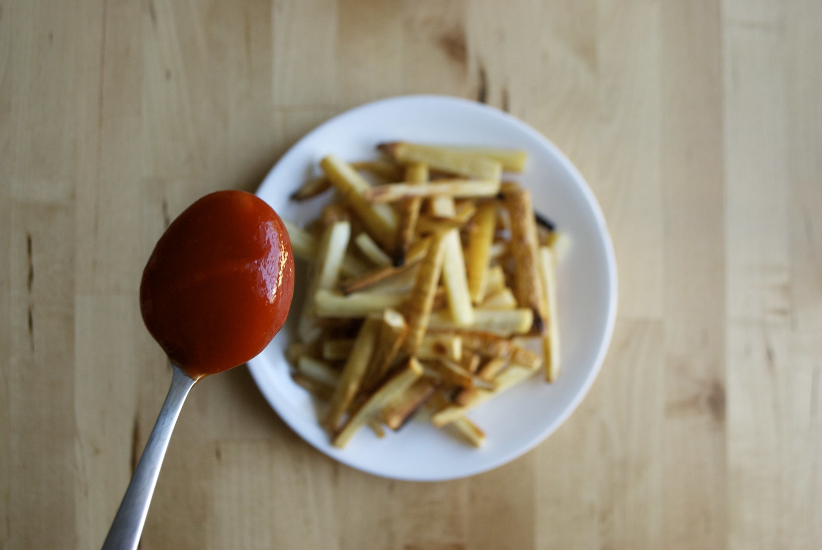 parsnip fries and sriracha-spiked ketchup