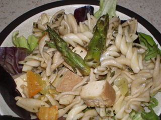 Springy Tarragon Pasta Salad with Roasted Asparagus and Baked Tofu
