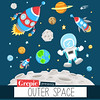 "Outer space clipart: ""OUTER SPACE"" clip art pack with planets, astronaut, spaceships, rockets, stars for scrapbooking, card making, invites"