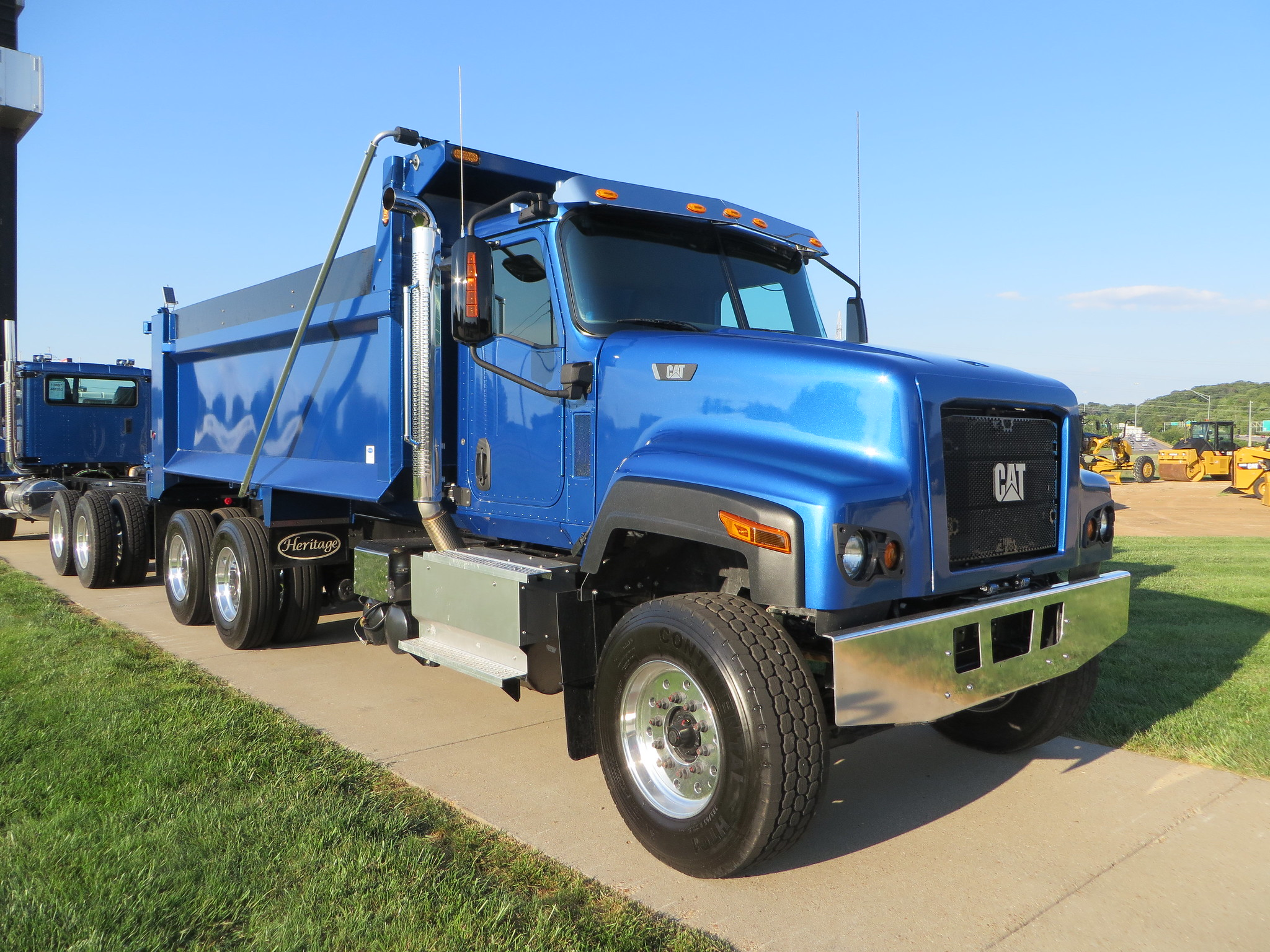 all blue cat ct681 dump truck ready to get to work