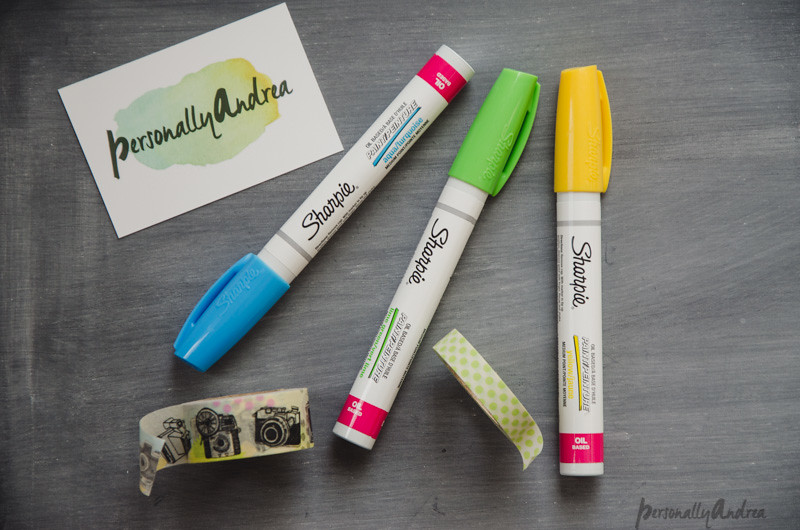 Paint sharpies, green, blue and yellow and retro camera patterned washi tape | personallyandrea.com #sharpies #washitape