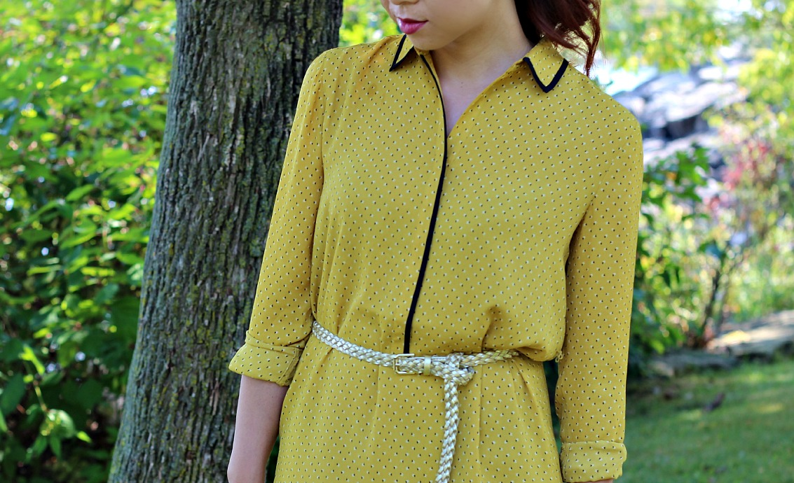 LovePretty-LOFT-TINY-FLORAL-PIPED-SHIRTDRESS-3, mustard shirt dress, LOFT mustard dress