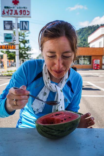 A watery melon snack in Yubari, Hokkaido, Japan