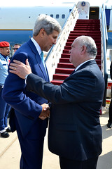 U.S. Secretary of State John Kerry speaks with Ambassador Joseph W. Westphal before his departure at Royal Terminal of King Abdulaziz International Airport in Jeddah, Saudi Arabia on September 12, 2014. [State Department photo/ Public Domain]