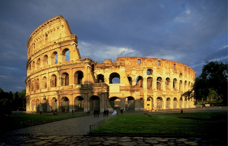 Panoramic view of Colosseum at evening