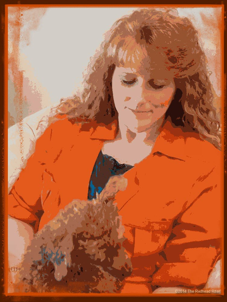 cartoon sherry redhead riter with bella toy poodle