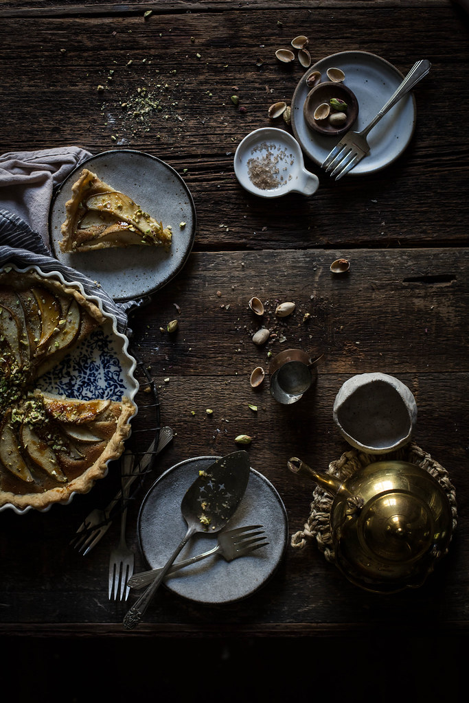 "pear, pistachio, frangipane tart from the ""top with cinnamon"" cookbook"