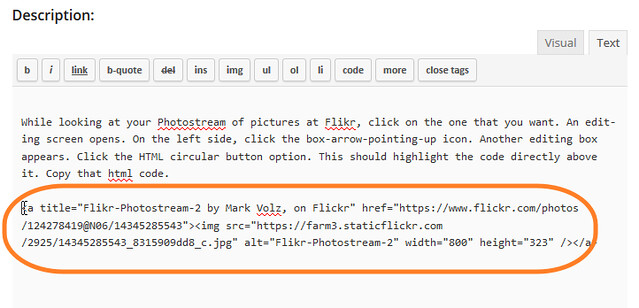 Flickr HTML Paste Example