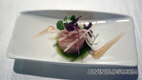Sashimi of Yellowtail, Seaweed, Yuzu, Radish