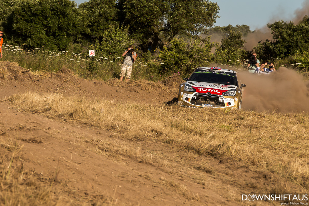 WRC competitors compete in Shakedown of Rally Italia Sardinia south of Alghero.