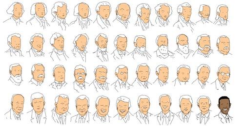 A cor dos presidentes dos Estados Unidos