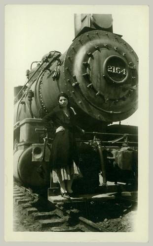 Woman posing on Locomotive 2154