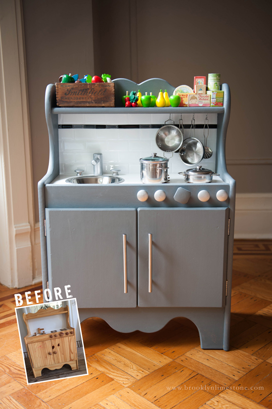 Play Kitchen Before and After | www.brooklynlimestone.com