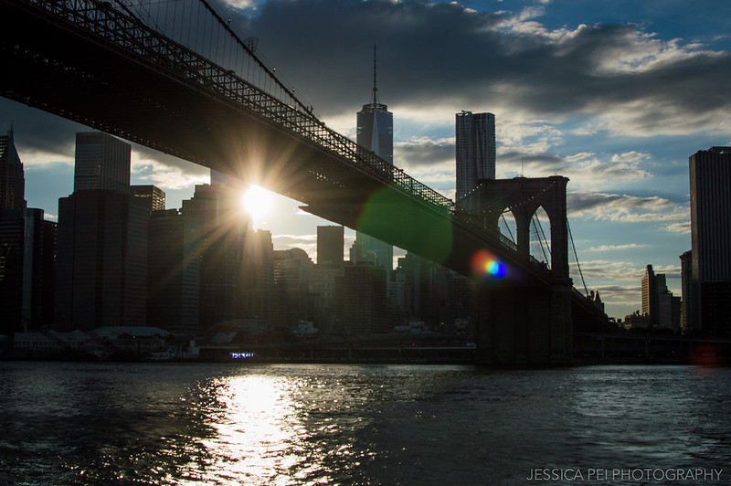 Setting Sun on Manhattan from Brooklyn Bridge