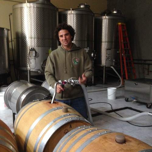 Michael, the winemaker @adoberoad is racking a Pinot Noir #petalumamade