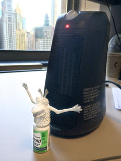 Using a space heater to quickly dry a White-out finger monster