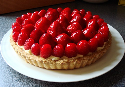 Strawberry Raspberry Custard Tart