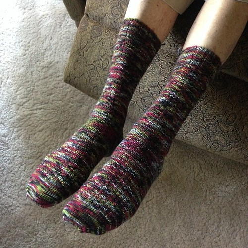 @grammylynne's new socks. Hermione's Everyday Socks knit in @kirbywirbyyarns Zombie Teenagers Spoiled Rotten (Eye Roll).