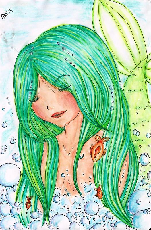 aquarell-meerjungfrau