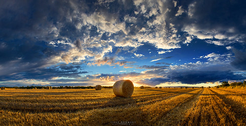 sunset shadow summer sky panorama backlight clouds skyscape scenery hungary hay bales hdr cloudscape realitydream