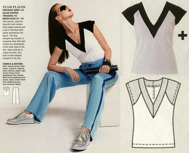 Burda-July-2014 Contrast Shirt