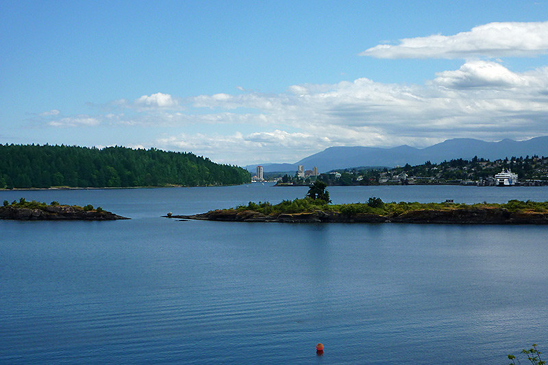 Newcastle Island (left) and Departure Bay Ferry Terminal in Nanaimo, Vancouver Island, British Columbia, Canada