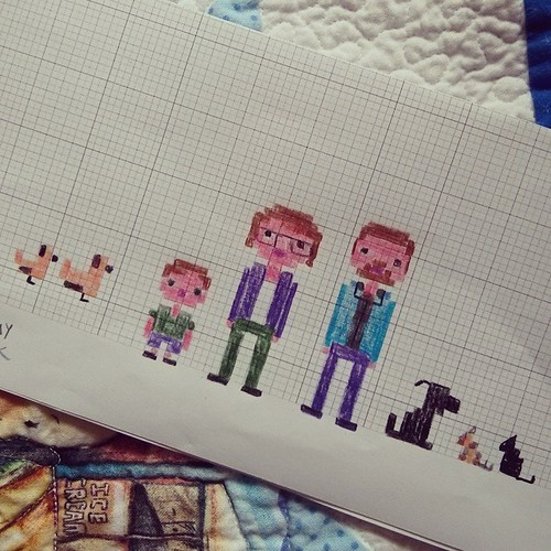 Planning the next cross stitch project.