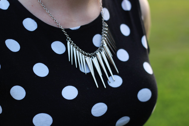 Spiked Silver Necklace and a Polka Dot Top