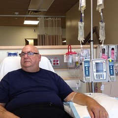 Chemo round 10 & @taxichef would happily be ANYWHERE but here today. #cancersucks #cancerclinic #chemo